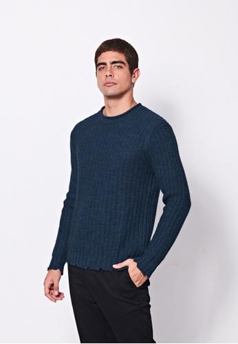 Sisley blue Textured Sweater 64C5FAAC0F4AD0GS_1