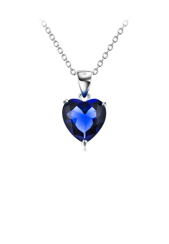 Glamorousky blue 925 Sterling Silver Simple Fashion Blue Heart-shaped Cubic Zirconia Pendant with Necklace CEF9BAC99F3A62GS_1