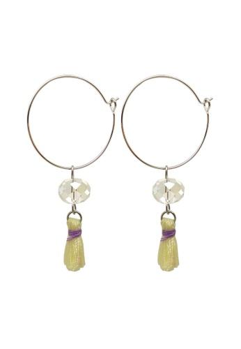 Fur Nyce yellow Mini Tassel Hoop Drop Earrings 9E0D8ACD58EB25GS_1
