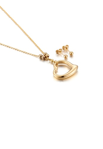 Glamorousky silver Simple and Romantic Plated Gold Hollow Heart-shaped 316L Stainless Steel Necklace and Stud Earrings Set 8DCD3ACB56032CGS_1