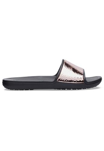 Crocs black Women's Crocs Sloane Hammered Metallic Slide Blk/RGd C2EADSH8A8AC82GS_1