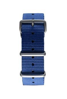 NATO霧面銀海藍色錶帶