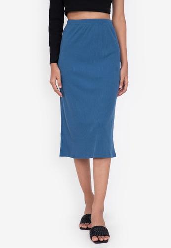 ZALORA BASICS blue Midi Ribbed High Waist Skirt 49E29AA5855288GS_1