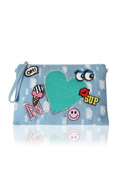 Embroidered Heart Motif Denim Clutch