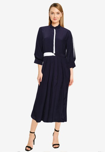 French Connection blue Aiden Drape Contrast Shirt Dress 93503AA2BB69DBGS_1