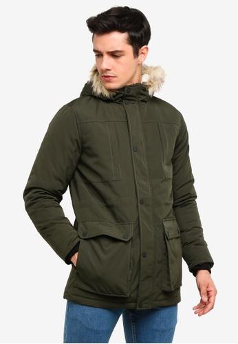 !Solid 綠色 鋼 Mock Fur 連帽Parka 外套 F0656AA16BAEA7GS_1