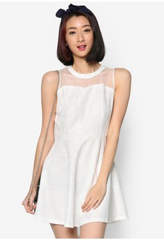 Fit-and-Flare Dress with Sheer Yoke