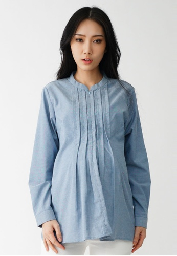 9months Maternity 藍色 Blue Front Pleated Maternity Shirt 58088AAB542F08GS_1