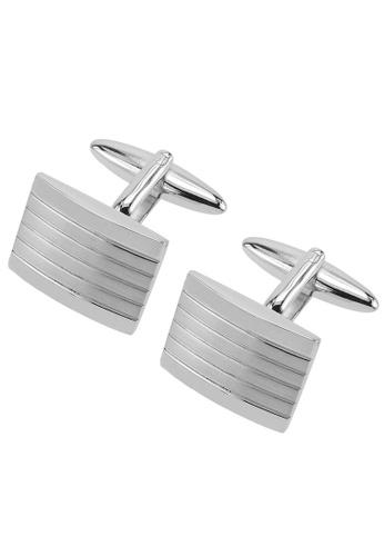 CUFF IT silver Silver Etched Stripe Cufflinks CU047AC32YUHHK_1