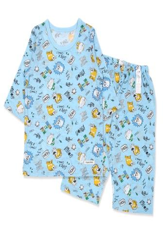 Organic mom blue Organic Cotton Martin Tiger 3/4 Sleeves Pjs 30B44KA004F278GS_1