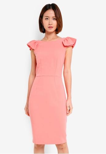 CLOSET pink Shoulder Frill Pencil Dress 2C6A7AA0B64961GS_1
