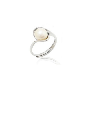 Glamorousky white 925 Sterling Silver Simple Temperament Geometric Freshwater Pearl Adjustable Ring CEDA9ACF4E5CA8GS_1