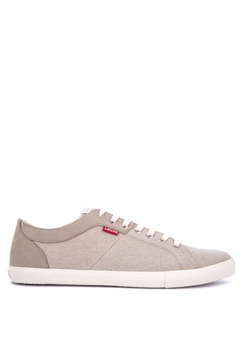 Levi's beige Woods Canvas Microfiber Sneakers 6111DSH36A6977GS_1