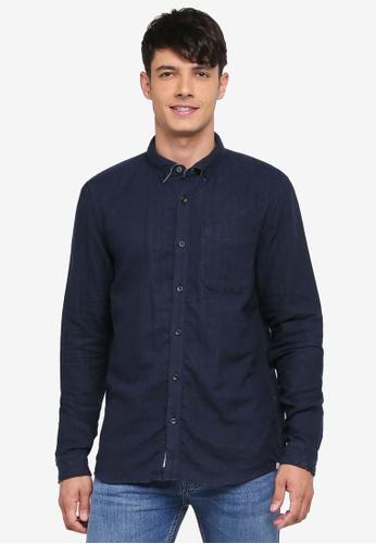 River Island 海軍藍色 休閒長袖襯衫 269A2AA3027F97GS_1