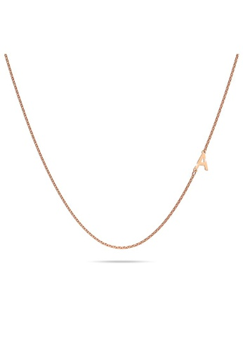Bullion Gold gold BULLION GOLD Bold Alphabet Letter Initial Charm Necklace in Rose Gold Tone - A 2AE58ACFEB2DEDGS_1