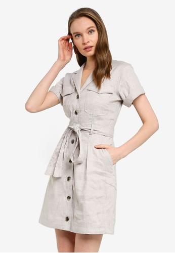 Banana Republic beige Linen-Cotton Utility Dress 93A27AA237B322GS_1