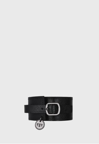 Tocco Toscano black Canterbury Single Wrap Leather Cuff (Black) TO281AC03RMESG_1