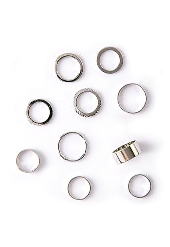 YOUNIQ silver YOUNIQ Basic 10 in 1 Minimalism Vintage Silver Fashion Ring Set 7C296ACB71613FGS_1