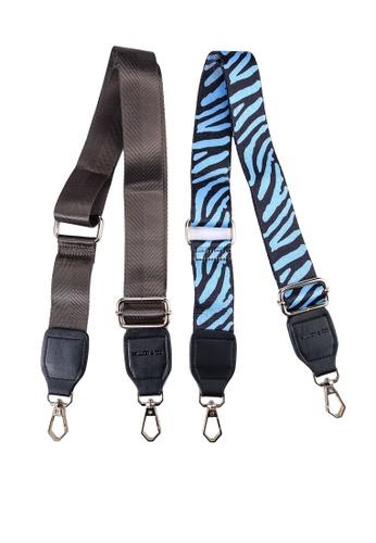 Milliot & Co. 藍色 Becky 2 In 1 Zebra Handbag Straps AA040AC7F9ABFAGS_1