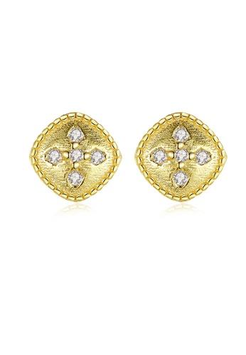 SUNRAIS gold High quality Silver S925 gold simple design earrings B3B5EAC9DFECBDGS_1