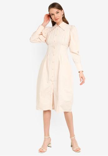 URBAN REVIVO beige Pleated Puff Shirt Dress E2CADAA1381F1DGS_1