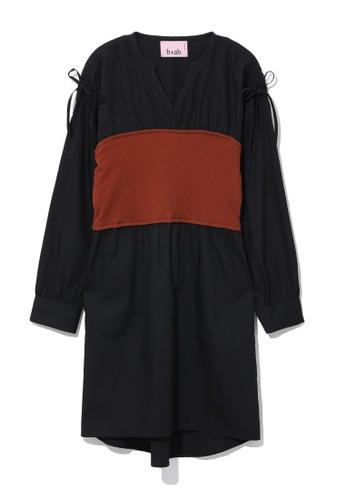 b+ab black Ribbed corset dress 3756DAAC33FD62GS_1