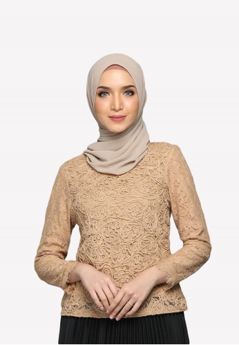 Emanuel Femme gold and brown Bella Embroidered Lace Blouse 0B4A0AAA5149E6GS_1