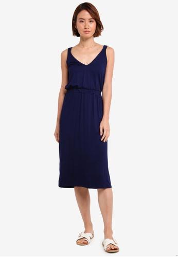 WAREHOUSE 海軍藍色 V Neck Cami Dress CDEC0AACC498EEGS_1