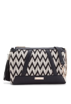 Black Weave Crossbody Bag