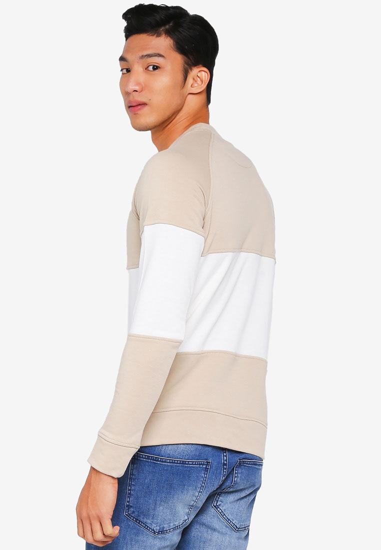 amp; Frank Gray Crew Jones Neck Jack White Feather Colorblock Sweater wIR6Iq
