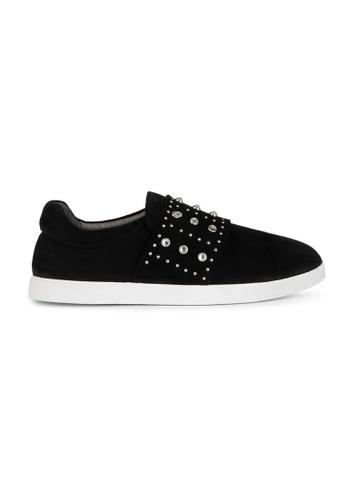 MAUD FRIZON black Calf Leather Sneaker With Rhinestone Grommets & Mini Studs 9544CSH812CD67GS_1