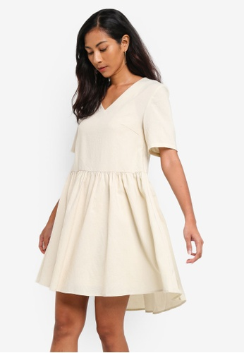 ZALORA BASICS beige Basic Cotton Peplum V-Neck Dress 04741AA8E92345GS_1