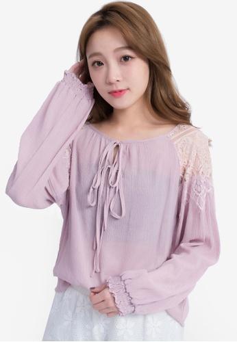 Yoco purple Lace Shoulder Blouse 5BC81AABBE8598GS_1
