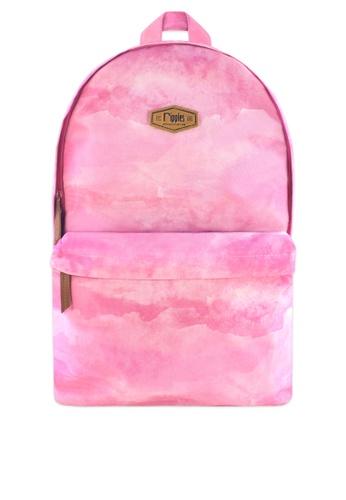 Ripples pink Clouds Watercolour Digital Print Backpack E6A7CAC5328B6DGS_1