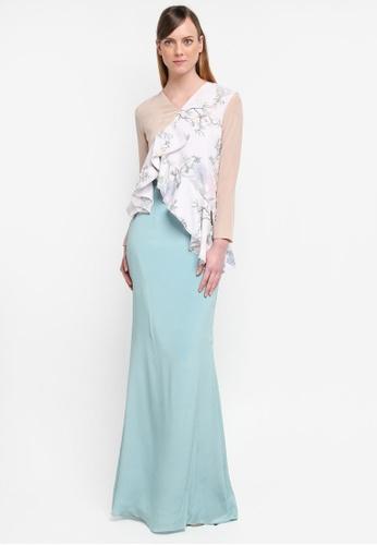 YADOTSA for ZALORA pink and green and beige Onira Multicolor Drape Kurung YA729AA0STH5MY_1