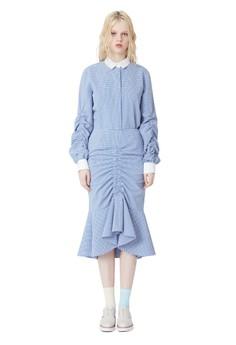 藍色格子抽褶細節美人魚裙