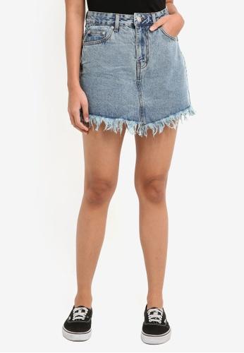 Supre blue Chrissy Fray Edge Denim Skirt C8698AA3644A8DGS_1