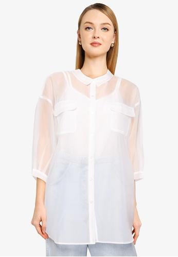 Heather white Plain Sheer Shirt E78E4AA7B93A18GS_1