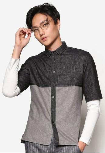 色款拼接短袖襯衫esprit官網, 服飾, 素色襯衫