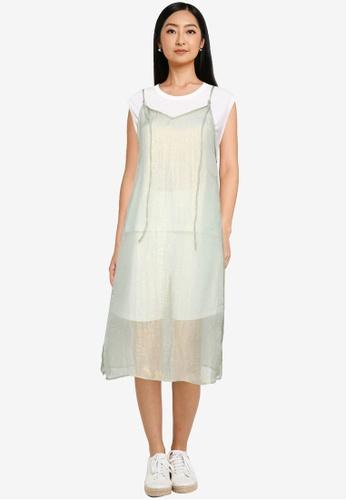 Heather green Semi-sheer Camisole Dress 93D2EAA905121EGS_1