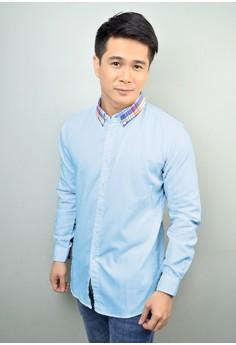 Light Blue Long Sleeves With Checkered Print Collar Button-Down Shirt