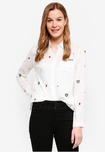 Superdry white Stevie Conversational Shirt 270D2AA3CC97CDGS_1