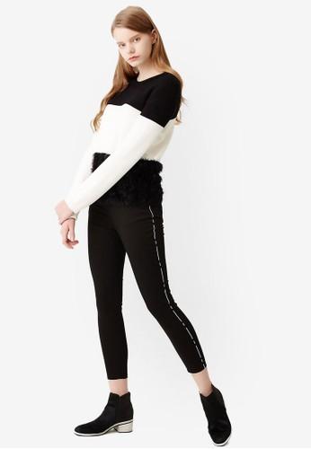 PLesprit 衣服AY 刺繡滾邊貼身長褲, 服飾, 長褲及內搭褲