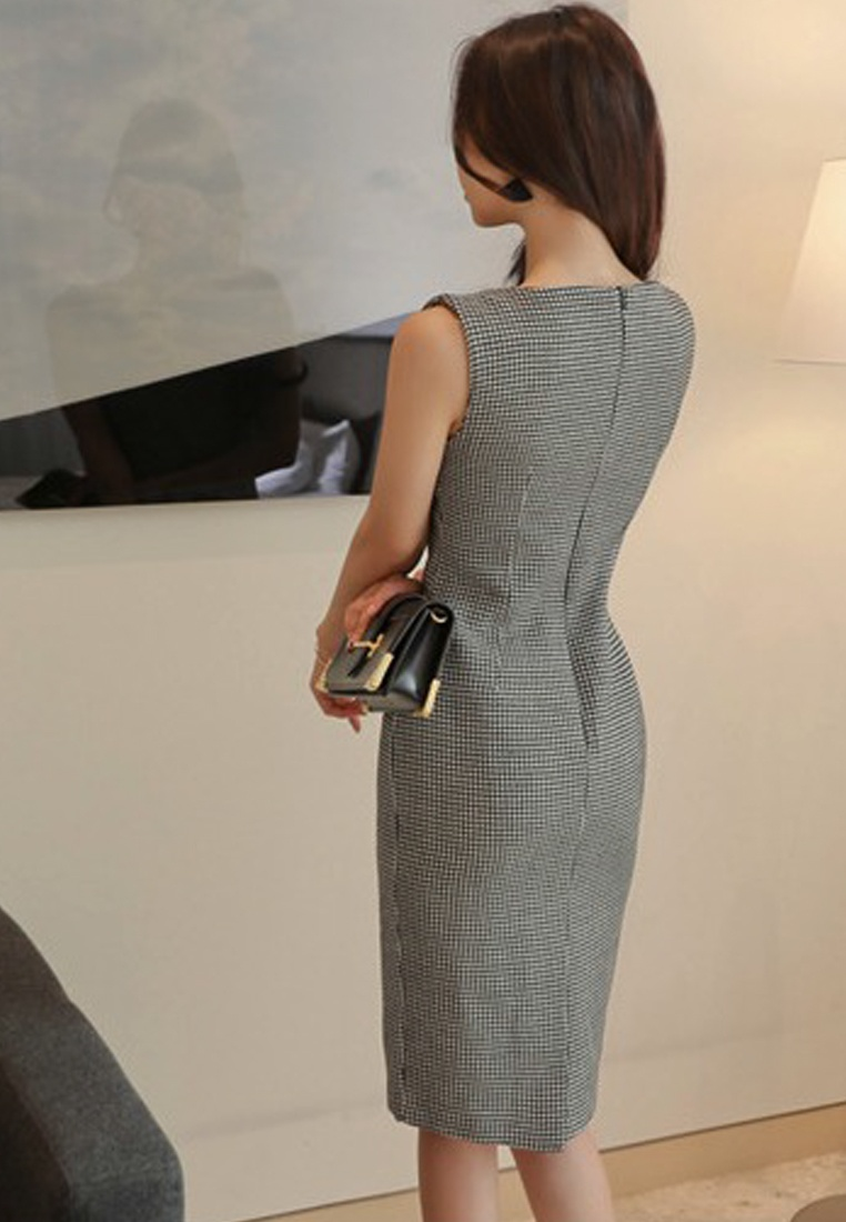 One Style A051625 Dress Sunnydaysweety New Grey Sleeveless Simple 2018 Piece Grey IwXaqOX