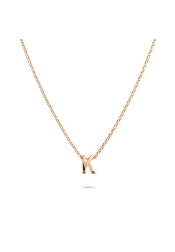 Bullion Gold gold BULLION GOLD Initials Brick Alphabet Letter Necklace Rose Gold Layered Steel Jewellery - K 54C10ACCCDE29BGS_1