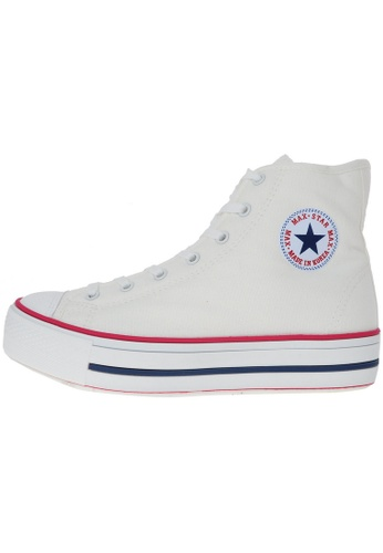 Maxstar 白色 新款韩国鞋C30-Taller時尚帆布布混合女白色 US Women Size MA345SH44HDBTW_1