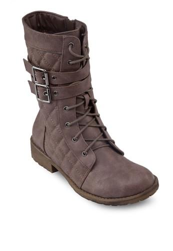 菱格繫帶中esprit 眼鏡筒靴, 女鞋, 鞋