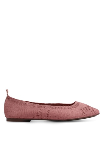 Nose 粉紅色 雕花鏤空平底鞋 244AFSH49EE058GS_1