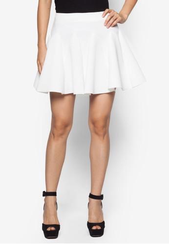 基本款褶飾喇叭短zalora 包包 ptt裙, 服飾, 迷你裙
