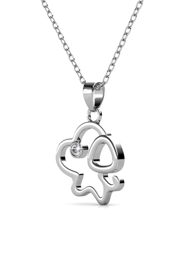 Her Jewellery silver Pup Pendant -  Made with premium grade crystals from Austria HE210AC0GLSPSG_1
